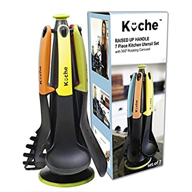 KÜCHE Premium 7-Pieces Heat Resistant Nylon Silicone Raised UP Kitchen Cooking Utensils Set with Holder and 360 Degree Rotating Carousel Stand (Multi Color)