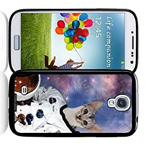 Cool Painting Hipster Astronaut Cat Galaxy - Protective Designer BLACK Case - Fits Samsung Galaxy S4 i9500