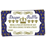 Baby : 50 Royal Prince Diaper Raffle Tickets | Boy Baby Shower Game