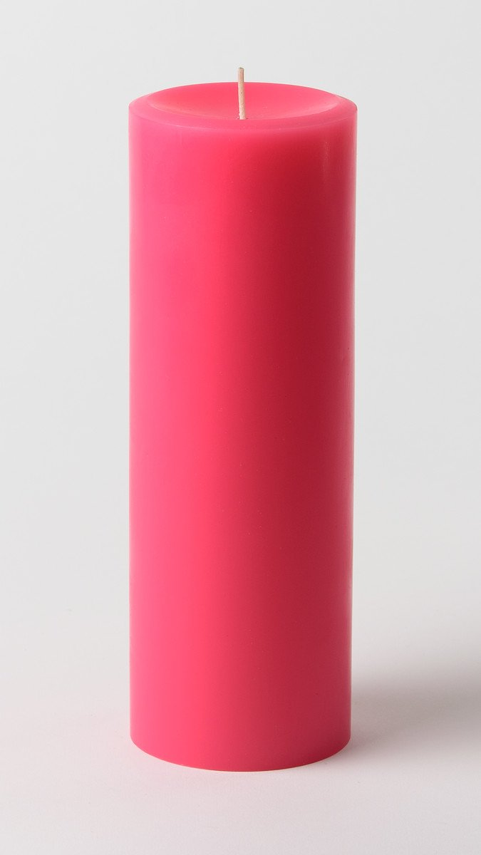 Mister Candle - 3 inch by 9 inch Tall Unscented Solid Color Pillar Candles (Set of 3) for Home Décor, Wedding Receptions - Made in USA (Hot Pink)