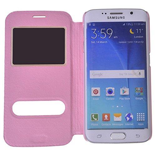Galaxy S6 edge Funda,COOLKE [Sapphire] Ultra Delgado Flip Folio View Window Funda Carcasa Protective Case Cover Para Samsung Galaxy S6 edge SM-G925 Pink