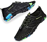 METOG Non-Slip Beach Shoes for Women Men Quick-Dry Foot Protection for Pool Swimming Surfing Diving Dance Hiking Exercise Multiple Use Women Size 9.5/ Men Size 8 Black