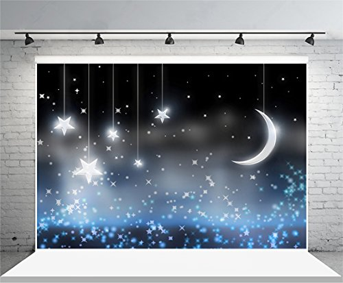 10X8ft Vinyl HD Photography Backdrops Night Moon and Stars Photo Backgrounds Studio Props]()
