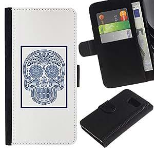 All Phone Most Case / Oferta Especial Cáscara Funda de cuero Monedero Cubierta de proteccion Caso / Wallet Case for Sony Xperia Z3 Compact // Marble Tile Skull Indian Pattern Art