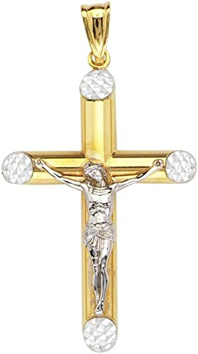 Yellow or White Children/'s 14K Gold Tubular Baby Cross Charm Necklace