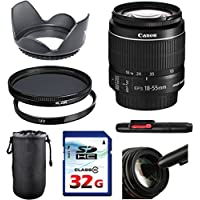 Canon EF-S 18-55mm f/3.5-5.6 IS II Lens Bundle + UV Filter + Polarizer Filter + 2 In 1 Lens Cleaning Pen + High Speed 32GB Memory Card + Tulip Hood + Deluxe Lens Case
