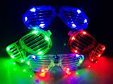 M.best Unisex Fashion Plastic Glow LED Light Up Shades Glasses for Christmas Halloween Wild Clubbing Birthday Party (Set of 12)
