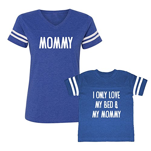 We Match! Mommy & I Only Love My Bed & My Mommy - Matching Women's Football T-Shirt & Kids T-Shirt Set (YTH Medium, Women's Medium, Royal, White Print) (Only Youth T-shirt Medium)