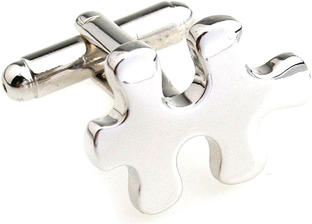 MRCUFF Puzzle Jigsaw Piece Autism Awareness Pair Cufflinks in a Presentation Gift Box & Polishing Cloth