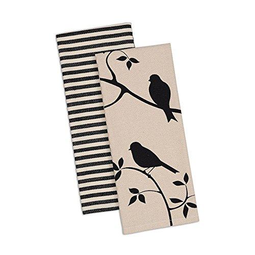 Kitchen Towels Birds Print Striped