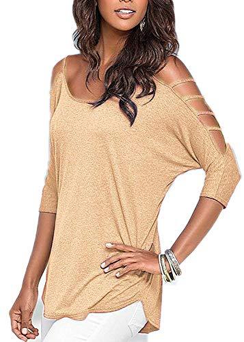 (LikeStory Blouse Fashion Style Fashion Color Cotton,X-Large,Apricotyellow)