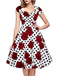 Womens Polka Dot Sugar Skull Vintage Swing Retro Rockabilly Cocktail Party Dress Cap Sleeve