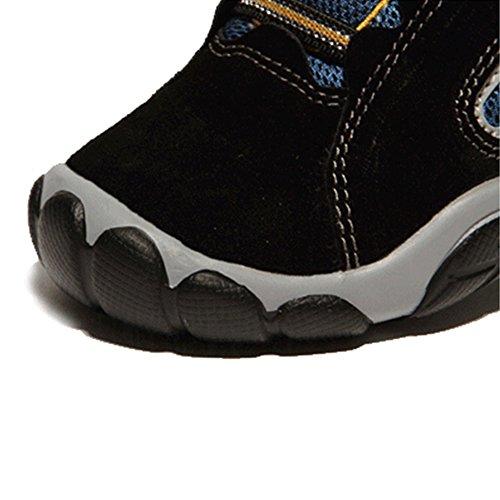 JACKSHIBO Jungen Atmungsaktive Outdoor Sportschuhe Leicht Low-Top Laufschuhe Mädchen Sneaker Schwarz