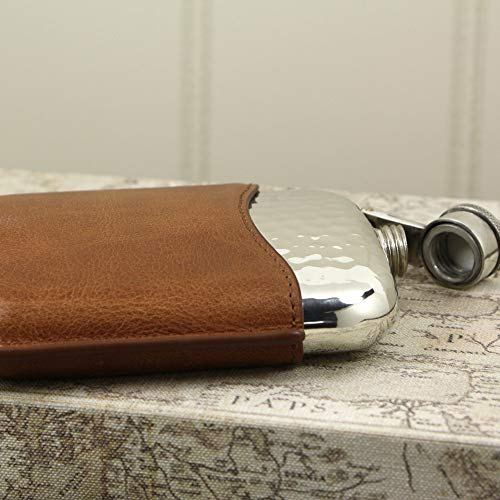 English Pewter Company 6oz Hammered Pewter Hip Flask With Captive Top and Luxury Brown Leather Pouch [PLF04] by English Pewter Company Sheffield, England (Image #2)
