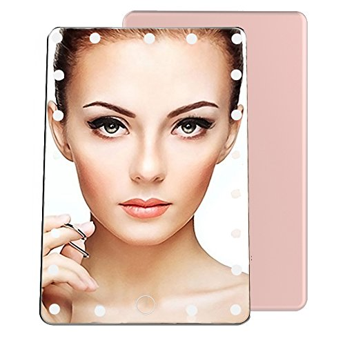 WEMOSI Lighted Vanity Mirror - 21 LED Lights with Smart Touch Screen - USB Charging Portable Leather Cover - Adjustable Brightness Mirror for Makeup Countertop Travel Bathroom