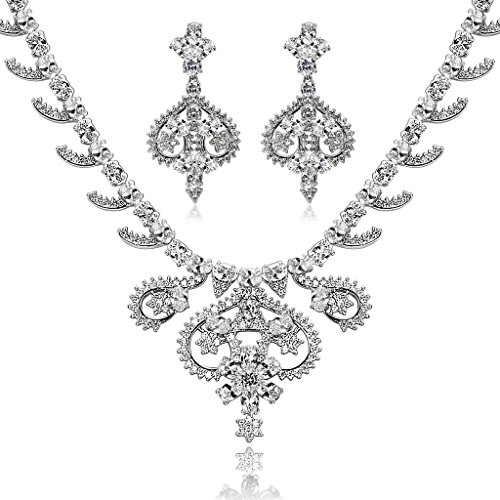 Epinki Silver Plated Jewelry Set, Art Crown Flower Leaf Drop White Rhinestone Necklace And Earring Set by Epinki