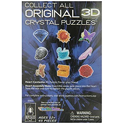 Bepuzzled Original 3D Crystal Puzzle - Heart, Pink - Fun yet challenging brain teaser that will test your skills and imagination, For Ages 12+: Toys & Games