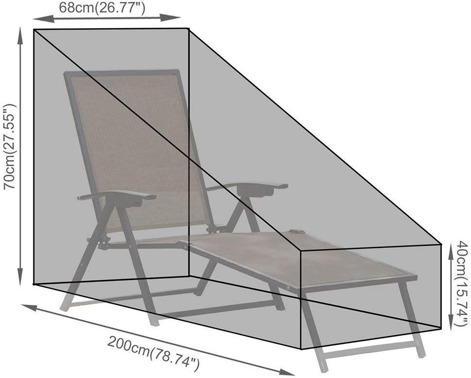 mobili da Giardino Sdraio mobili Copertura Antipolvere Nero Garden Outdoor Sun Lounge della Sedia PROKTH Impermeabile per Lettino Prendisole con Tasca portaoggetti