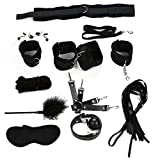 Sex Products 11 Pcs/Set BDSM Bondage Set Leather Fetish Adult Games Sex Toys for Couples Slave Game SM Product Collar Eye Mask Plush Black
