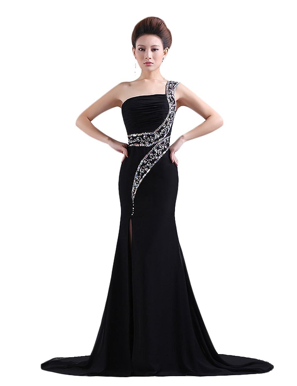 Dresstells Damen Abendkleider Ballkleid One Shoulder mit Strassstein DT90078