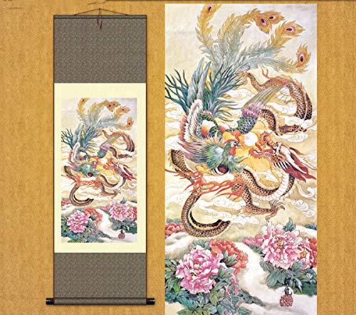 Chinese Dragon Phoenix - Sunmir (TM Silk Scroll Painting Chinese Dragon Phoenix Flamboyant