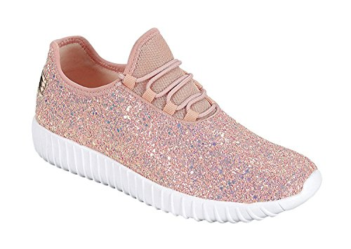Forever Link Womens REMY-18 Glitter Fashion Sneakers Dusty Rose Iv0fy5eM
