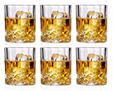Bezrat Lead-Free Crystal Double Old-Fashioned Whiskey Glasses, SET OF 6, Heavy Base Barware Glasses Set, 8oz Drinking Glasses. Set of 2 Bar Drink Coasters Included