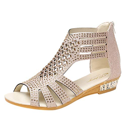 - Women's Wedge Sandals Bohemia Beach Shoes Fashion Crystal Bling Hollow Out Roman Shoes Beige