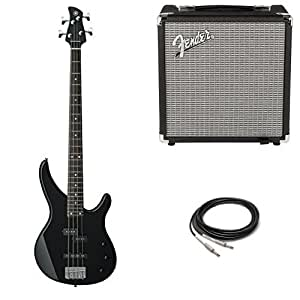 yamaha trbx174 bl 4 string electric bass guitar with fender amp and cable musical. Black Bedroom Furniture Sets. Home Design Ideas