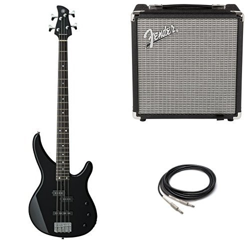 Amps Yamaha Vintage (Yamaha TRBX174 BL 4-String Electric Bass Guitar with Fender Amp and Cable)