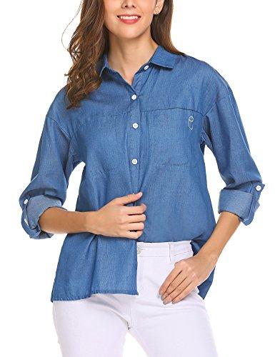 bubblebelle Women's Jean Shirt, Long Rolled Sleeve Button Western Denim Shirt Light Blue XXL