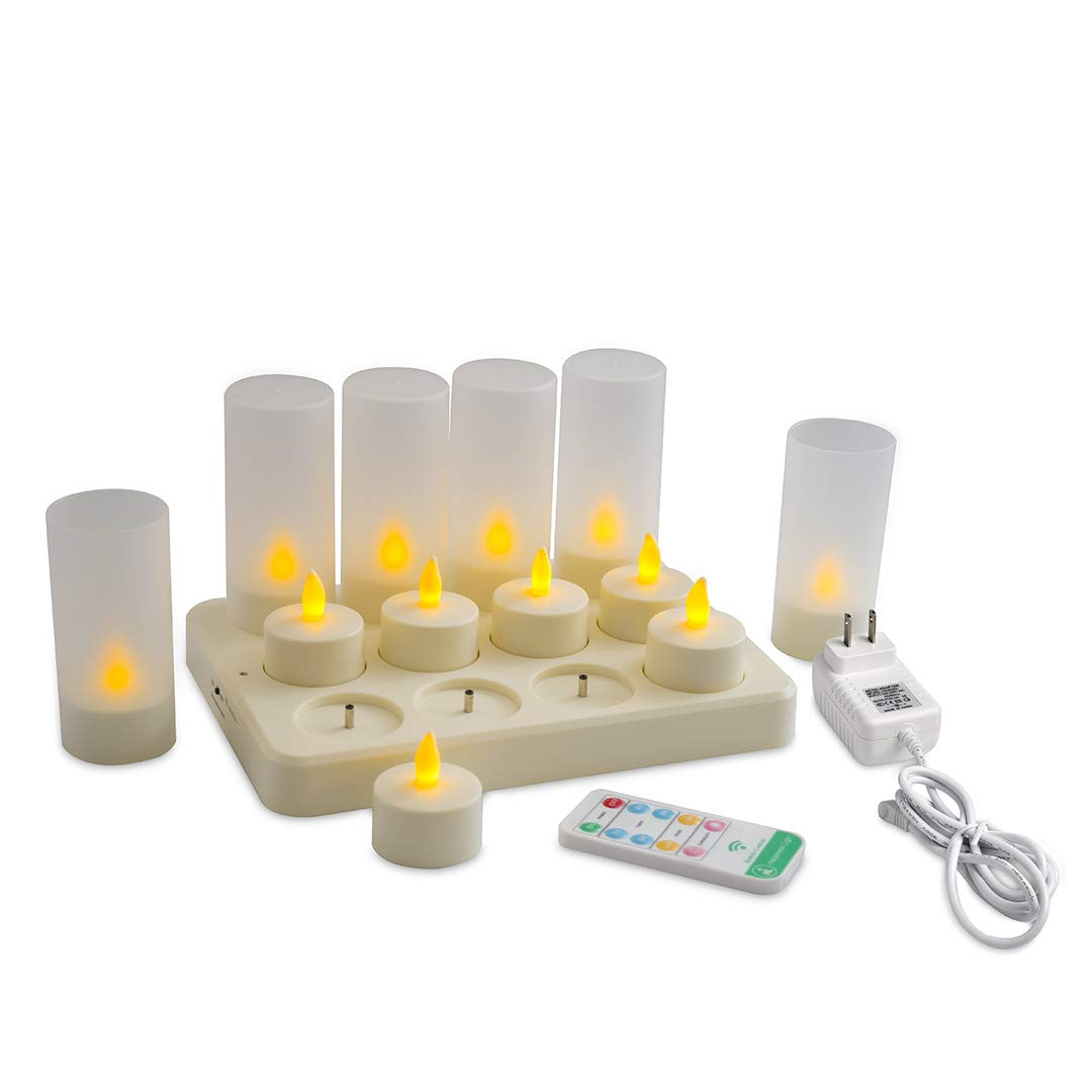 Happiness Light Safe Yellow Light DC Rechargeable Tea Light Candles(12pcs) with Timer 10key Remote Control and Holders 2A 3.5Hours DC Charging Base,Flameless Flickering