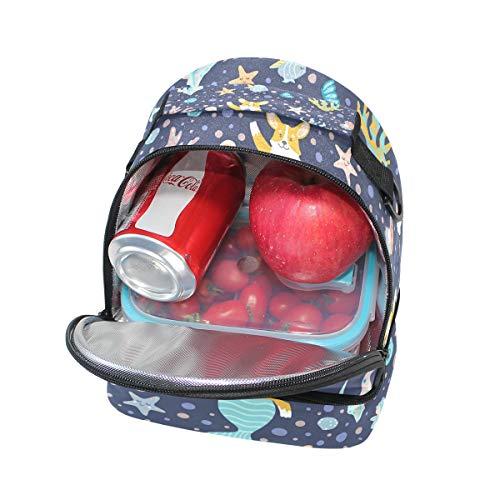 à Sac Alinlo Funny l'école réglable lunch bandoulière pour avec Pincnic sirène Dog isolé Box à avec étoiles Tote XadXq