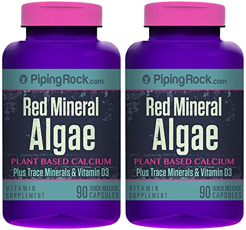 Piping Rock Red Mineral Algae Aquamin Plant Based Calcium 2 Bottles x 90 Quick Release Capsules Plus Trace Minerals & Vitamin D3