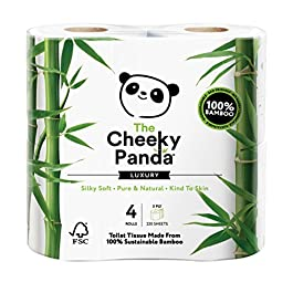 The Cheeky Panda 100 Percent Bamboo Toilet Paper Tissue Roll – Soft, Skin Friendly, Super Absorbent, No Harsh Chemicals