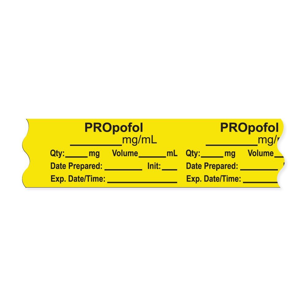 PDC Healthcare AN-2-27 Anesthesia Tape with Exp. Date, Time, and Initial, Removable, ''PROpofol mg/mL'', 1'' Core, 3/4'' x 500'', 333 Imprints, 500 Inches per Roll, Yellow (Pack of 500)