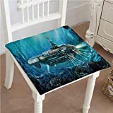 Mikihome Outdoor Chair Cushion Science Fiction Sub Underwater War Futuristic Silver Comfortable, Indoor, Dining Living Room, Kitchen, Office, Den, Washable 22''x22''x2pcs