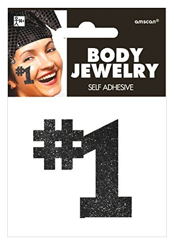 Amscan Black #1 Body Jewelry, Party Accessory, 24 Ct.