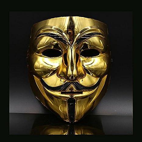 hongfei Oro Creativo/Plata V para Vendetta Guy Fawkes Máscara Anónimo Halloween Q