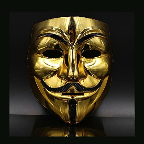 Hongfei Creative Gold/Silver V for Vendetta Guy Fawkes Mask Anonymous Halloween Q -