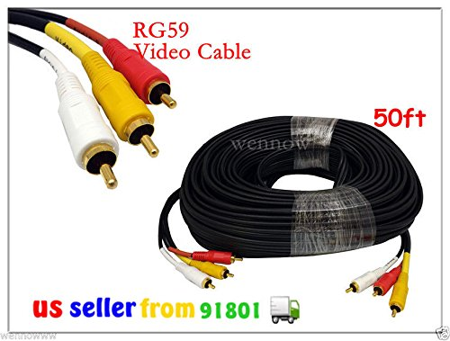 wennow 50 FT HEAVY DUTY THICK RG59 3-RCA COMPOSITE AUDIO VIDEO SHIELDED GOLD CABLE HDTV Rg59 Composite Video Cable