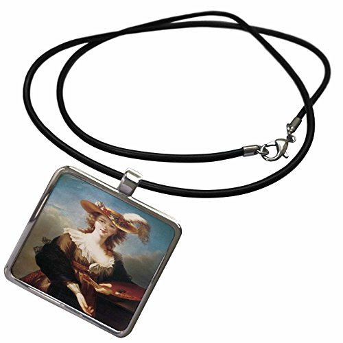 (3dRose BLN Portraits of Women Through Time Fine Art Collection - Self-Portrait by Marie Louise Elisabeth Vigee-Lebrun - Necklace with Rectangle Pendant (ncl_149580_1))