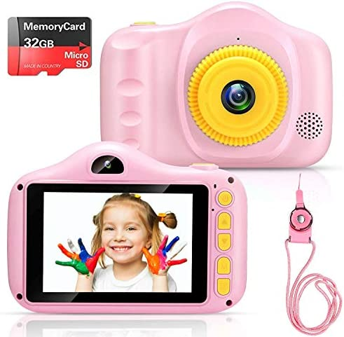 Voltenick Kids Camera Birthday for Girls Toys 3.5Inch 1080P HD Dual Lens Children Digital Cameras for Age 3 4 5 6 7 8 9 10 Year Old Girls Boys Toddlers with 32GB SD Card (Pink)