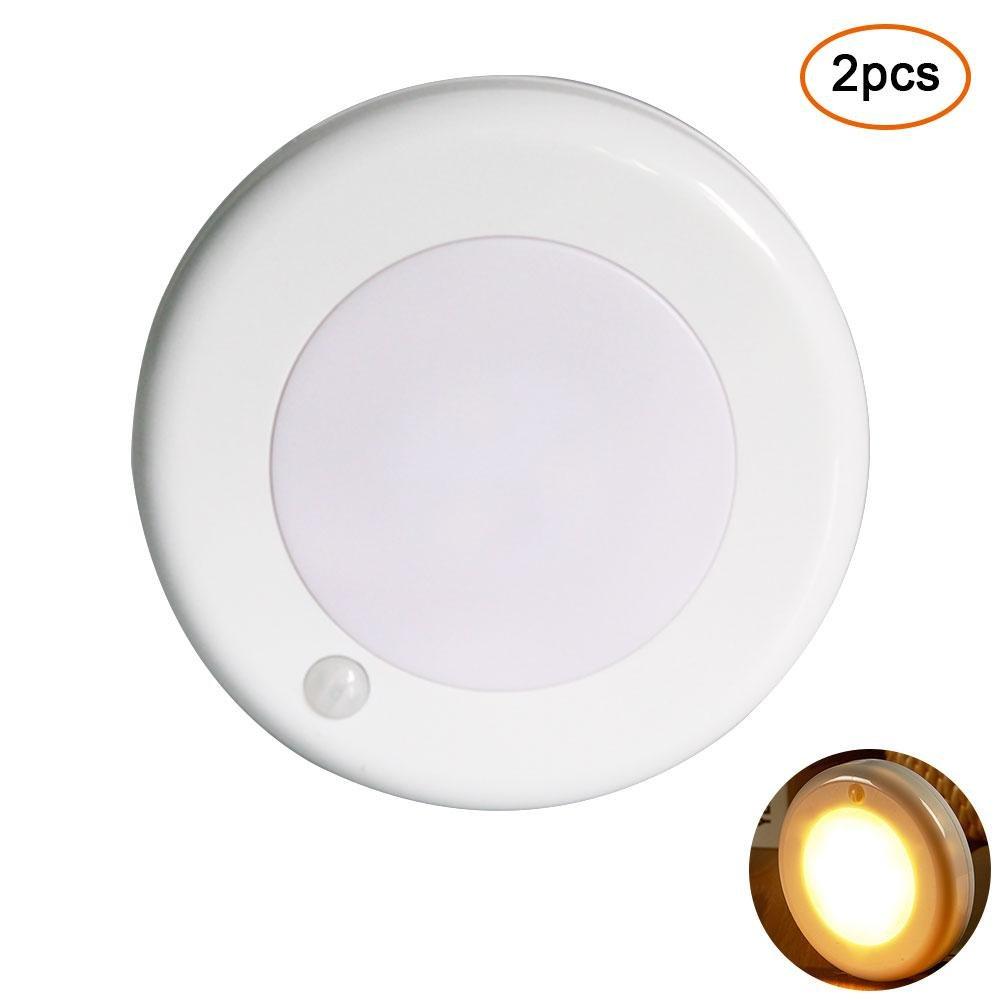 PAWACAモーションセンサーライト、バッテリ駆動式9 LED自動ワイヤレスNight Light with 3 M粘着パッド&磁気の階段、キャビネット、ワードローブ、クローゼット、寝室、キッチン(ホワイト) 7025779805406 B07CVMGDHW  2 Pcs
