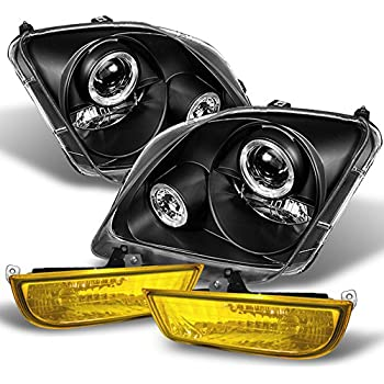 For 1997-2002 Honda Prelude All Model Black Halo Projector Headlights + Yellow Fog Lights W/Switch
