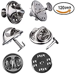 120 Pairs Butterfly Clutch Tie Tacks Pin Back Replacement with 8mm Length Blank Pins for Craft Making, Silver