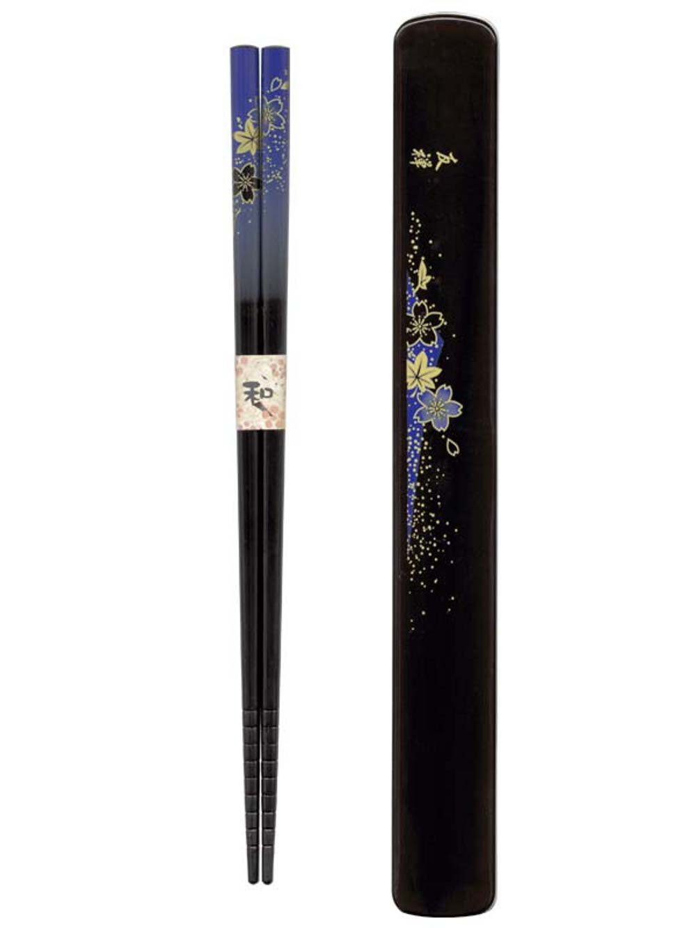 Tanaka Hashiten Box, Hanayuzen, Dark Blue Design 22.5cm Long Chopsticks, Hardwood 4974835090009