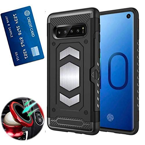 S10 Plus Case with Card Holder : S10+ Phone Cases with Metal Back for Magnetic car Mount : Samsung Galaxy S 10 Plus case with Card Holder Slot Wallet Full Protection, Armor (Black, S10 Plus)