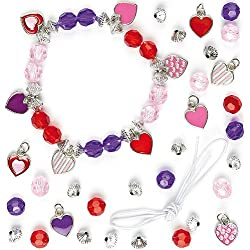 Heart Charm Bracelet Jewelry Kits for Children to Make & Wear (Pack of 3)