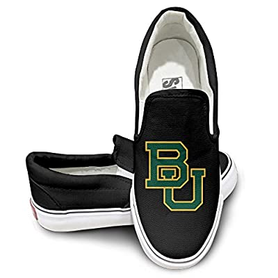 Amone Baylor Universite Fashion Unisex Flat Canvas Shoes Sneaker Black